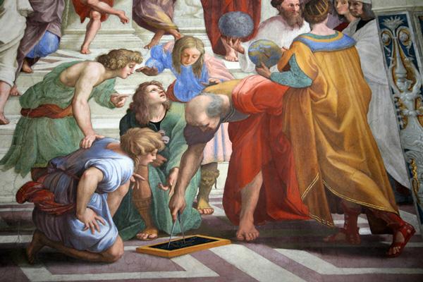 Platón y Strabo en la escuela de atenas por Raphael.
