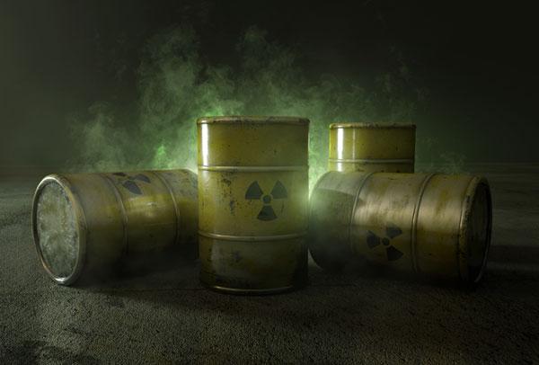 Varios barriles radiactivos