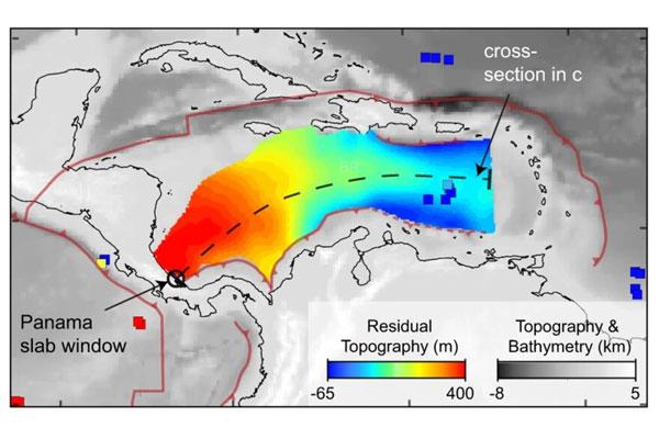 Imagen satelital y tomográfica del manto bajo el Caribe