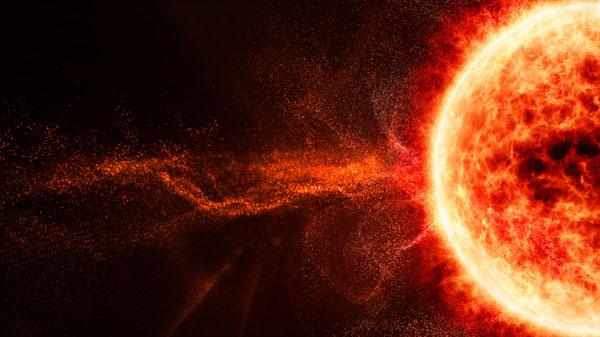 Ilustración de una erupción solar.