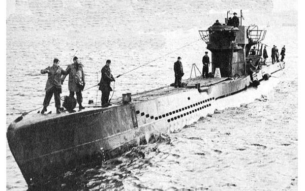 >El submarino U-1206, en el Mar del Norte.