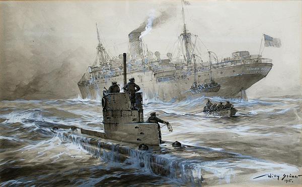 Representación alemana del ataque de un submarino en el Linda Blanche durante la Primera Guerra Mundial, que muestra el desembarco de pasajeros de los afectados buque.
