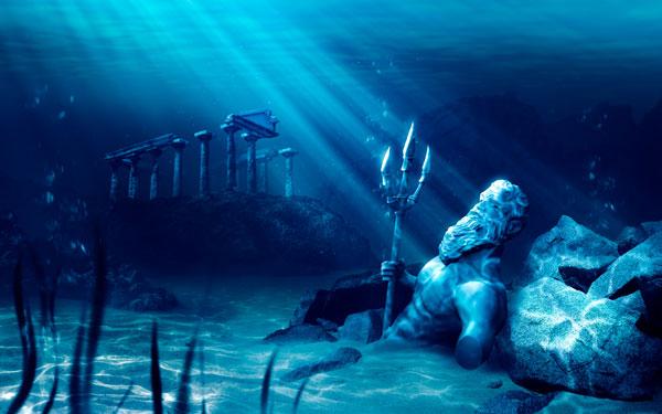 Ilustración que muestra las ruinas de la mítica Atlántida, de Platón, sumergidas en las aguas del mar