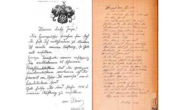 Una carta de un oficial superior de las SS llamado von Stein a una de las chicas (izquierda) y un diario escrito por otro nazi. .