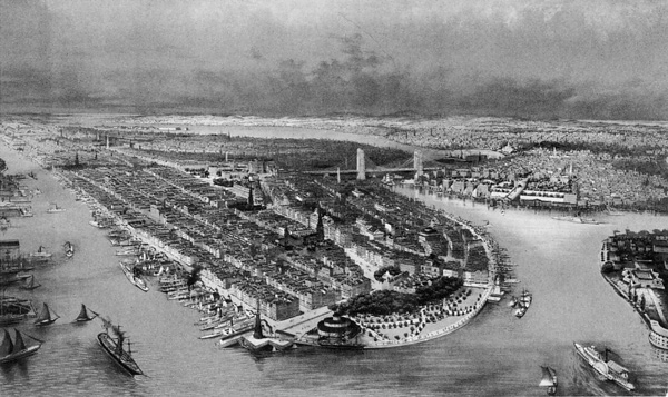 Vista aérea de Manhattan, c. 1880.