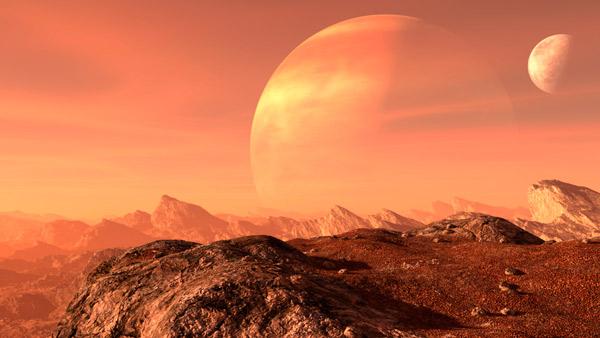 Escena de representación 3D de la superficie de Marte.
