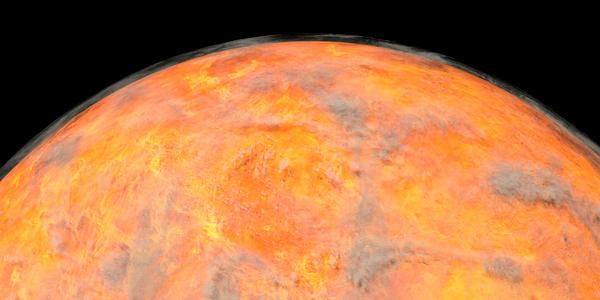 Planeta Venus con nubes visibles o gas mostrado desde el espacio.