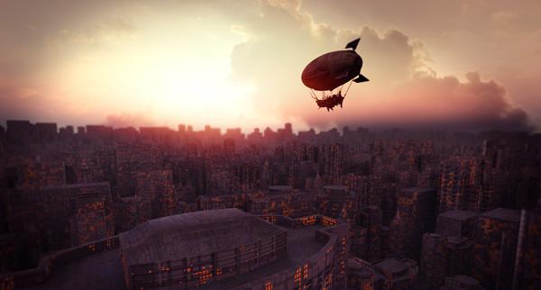 Zepelin sobrevolando la ciudad.