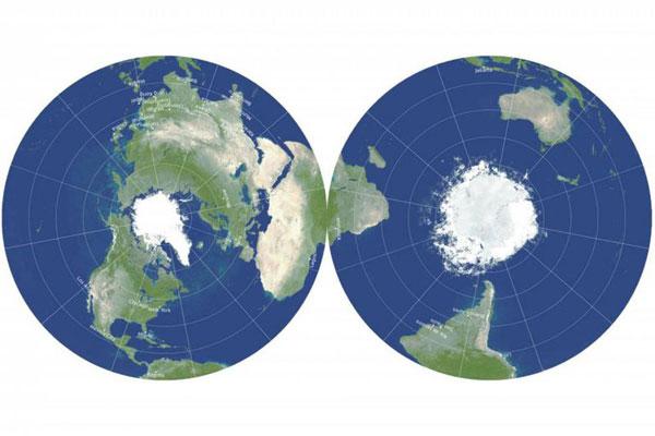 El revolucionario mapa de disco de doble cara que minimiza las distorsiones usuales en los planisferios.