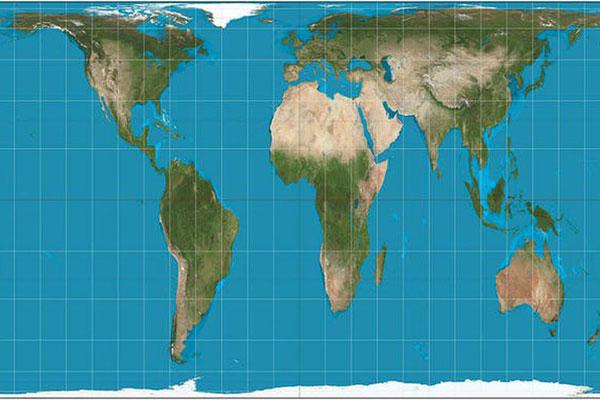 Planisferio según la proyección de Peters.