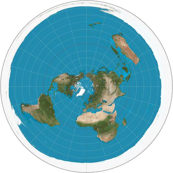 Planisferio según la proyección equidistante azimutal.