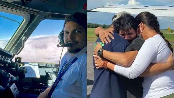 El piloto sobreviviente pilotenado su avión y luego junto a su familia